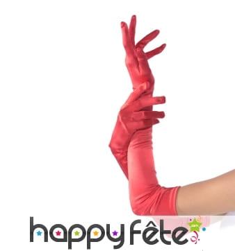 Longs gants rouges stretch, qualité supérieure