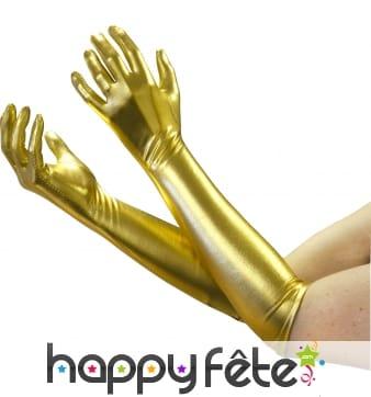 Long gants satinés dorés