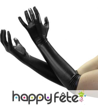 Long gants satinés noir