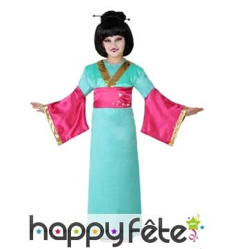 Long kimono vert rose pour fillette