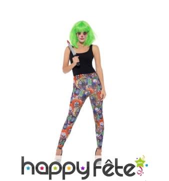 Legging motifs clowns sinistres pour femme