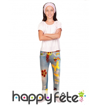 Legging motif jean fleuri style hippie, enfant