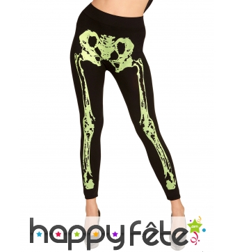 Legging noir avec jambes squelettes vert fluo