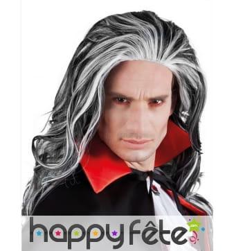 Longue perruque avec mèches blanches, vampire