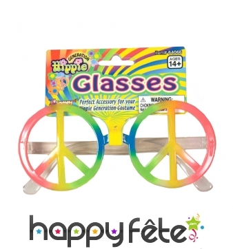 Lunettes peace and love multicolores