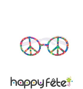 Lunettes peace and love très colorées
