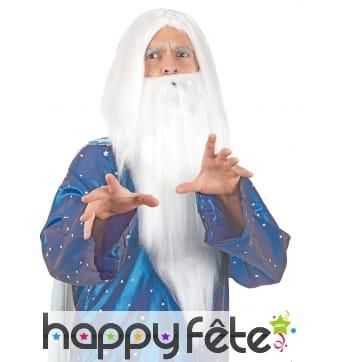 Longue perruque blanche de sorcier avec barbe