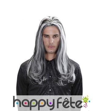 Longue perruque blanche et noire de vampire