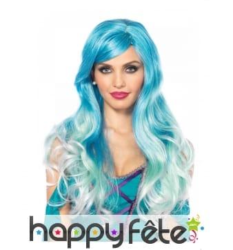 Longue perruque bleue de sirène pour femme, luxe