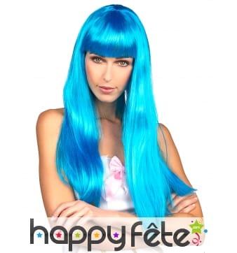 Longue perruque bleue frange lisse