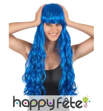 Longue perruque bleue ondulée, 70cm