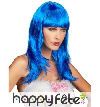 Longue perruque bleue unie à frange