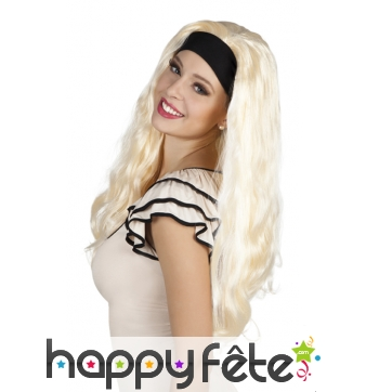Longue perruque blonde avec bandeau noir