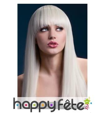 Longue perruque blonde avec frange, 48cm