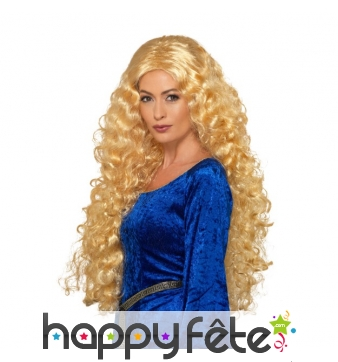 Longue perruque blonde bouclée médiévale
