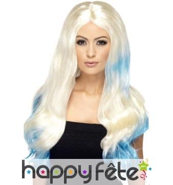 Longue perruque blonde et bleue bouclée