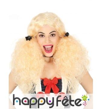 Longue perruque blonde frisée avec couettes, femme