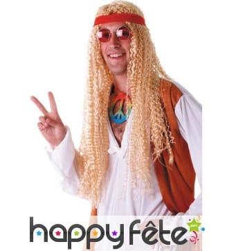 Longue perruque blonde hippie avec bandeau rouge