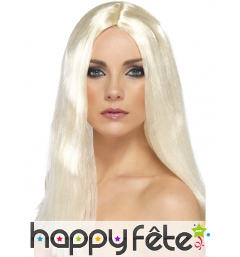 Longue perruque blonde lisse à frange, 44cm