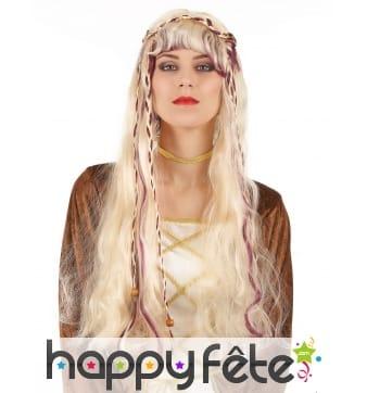 Longue perruque blonde médiévale ondulée 70cm