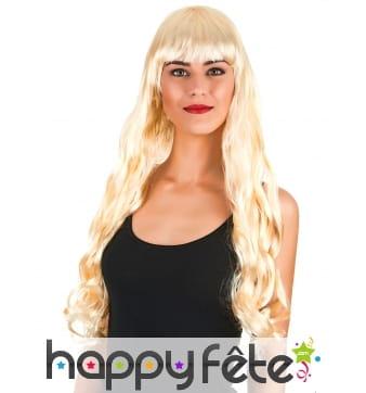 Longue perruque blonde ondulée, 70cm