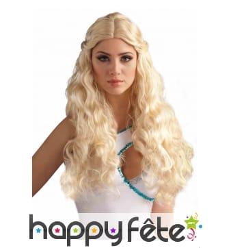 Longue perruque blonde ondulée de princesse