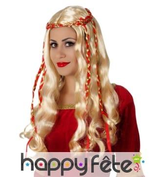 Longue perruque blonde ondulée et rubans rouges
