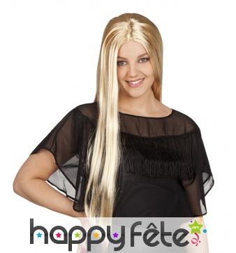 Longue perruque blonde raide