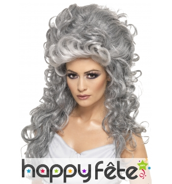 Longue Perruque bouclée grise avec volume