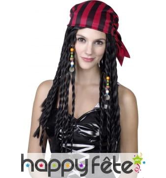 Longue perruque de femme pirate avec bandana