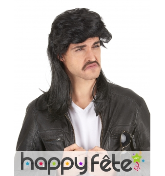 Longue perruque de mulet noire, 45cm