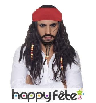 Longue perruque de pirate avec barbichette