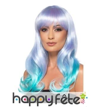 Longue perruque de sirène aux couleurs pastelles