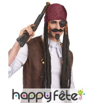 Longue perruque dread noire de pirate avec bandana