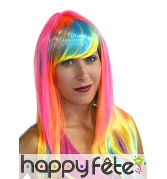 Longue perruque flashy multicolore