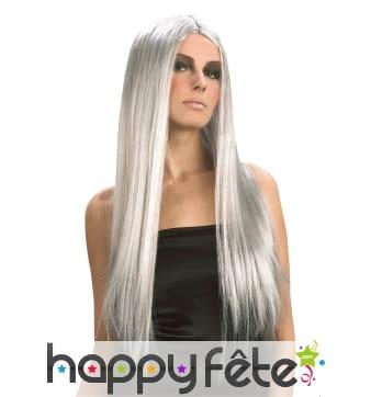 Longue perruque grise avec raie centrale
