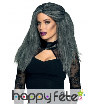 Longue perruque grise effet gaufré pour adulte