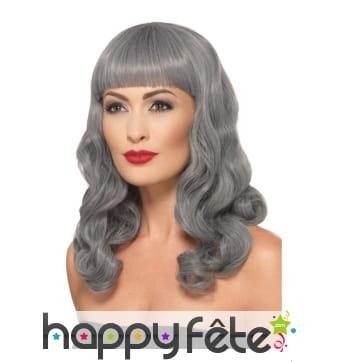 Longue perruque grise ondulée, deluxe