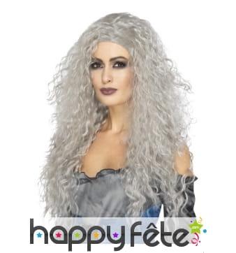 Longue perruque grise ondulée