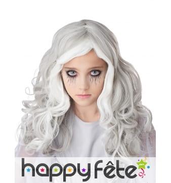 Longue perruque grise phosphorescente pour enfant