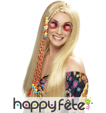 Longue perruque hippie blonde