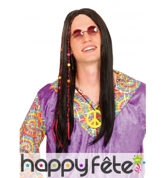 Longue perruque hippie noire avec perles colorées