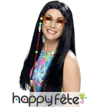 Longue perruque hippie, noire