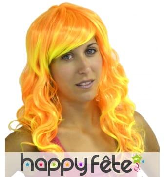 Longue perruque jaune et orange