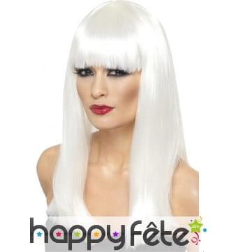 Longue perruque lisse blanche