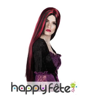 Longue perruque lisse noire avec mèches rouges