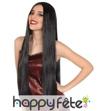 Longue perruque lisse noire de 80cm pour femme