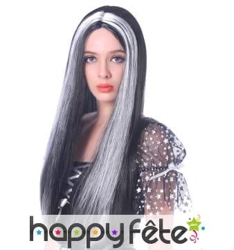 Longue perruque lisse noire et blanche