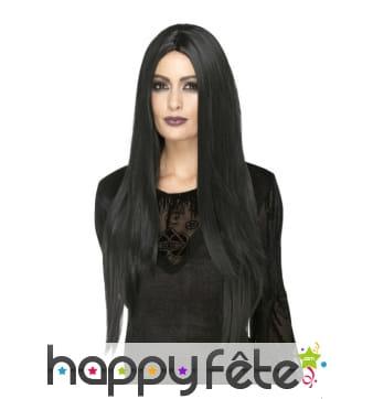Longue perruque lisse noire stylisable