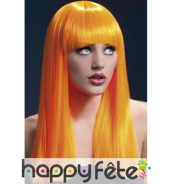 Longue perruque lisse orange néon de 48cm